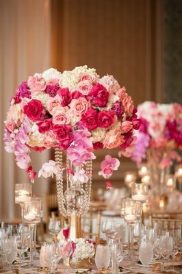 flower centerpiece with white hydrangeas, pink orchids, shades of pink roses