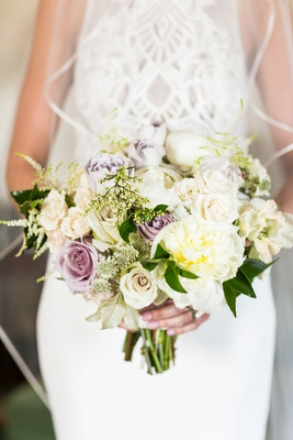 Wedding bouquet bride with trim veil satin white rose peony purple rose flower bouquet
