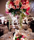 Tall round wedding centerpiece with pink and white flowers