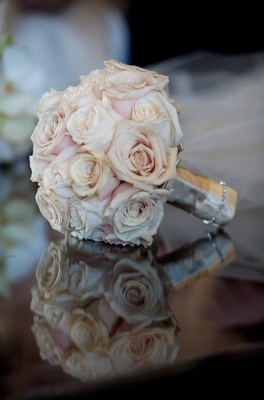 Bridesmaid's bouquet of pink and white roses