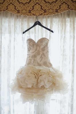 Swarovski crystal dress bodice with ruffle mini skirt