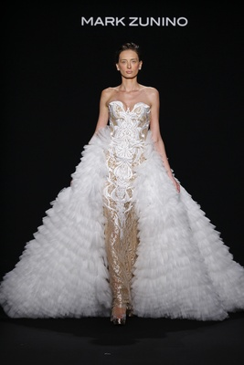 Mark Zunino for Kleinfeld 2016 strapless gold wedding dress, white embroidery with ruffle overskirt