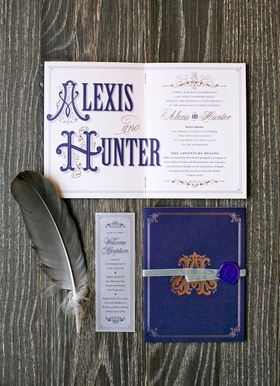 Wedding invitation that looks like old world story book font and wax seal feather with monogram