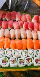 sushi and sashimi served at wedding