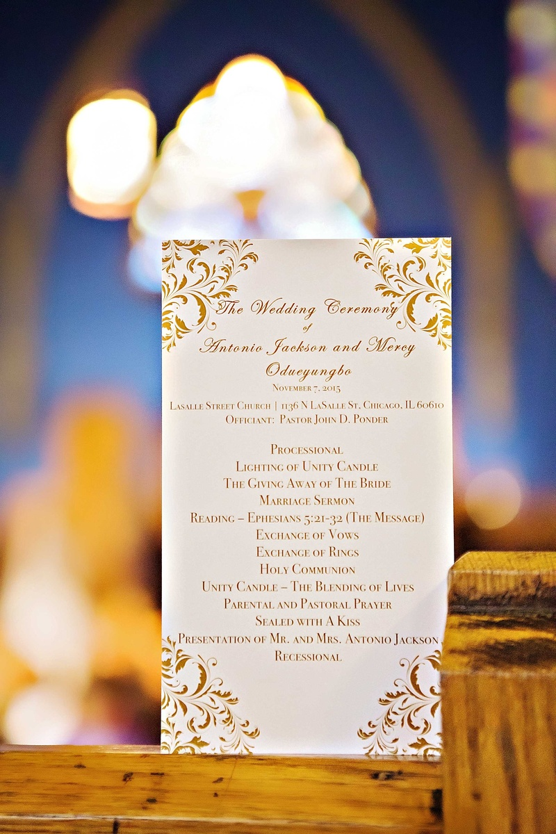 Wedding ceremony program with order of proceedings for church wedding gold script