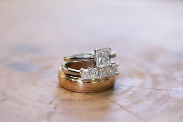Princess-cut diamonds on band and diamond rings