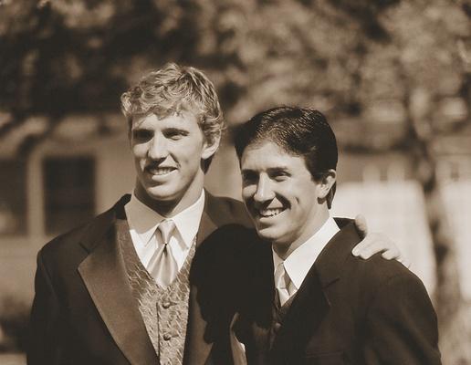 Sepia photo of groomsmen tuxedos