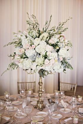 gold candelabra, garden roses, hydrangea, jasmine vine, candles
