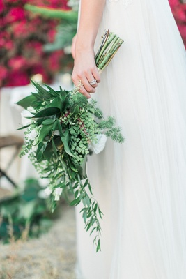 predominantly green mostly green bouquet leaves bridal wedding rustic boho styled shoot california