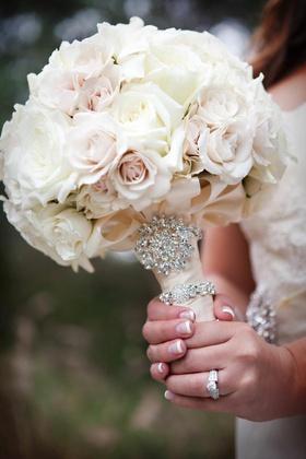 White rose light pink rose wedding flower bouquet