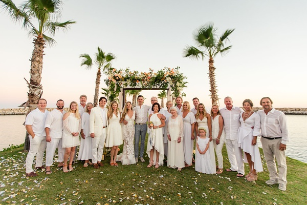 destination wedding in cabo san lucas, white wedding theme, guests wearing white to wedding