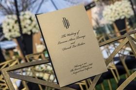 Wedding program ceremony gold stationery black monogram and script