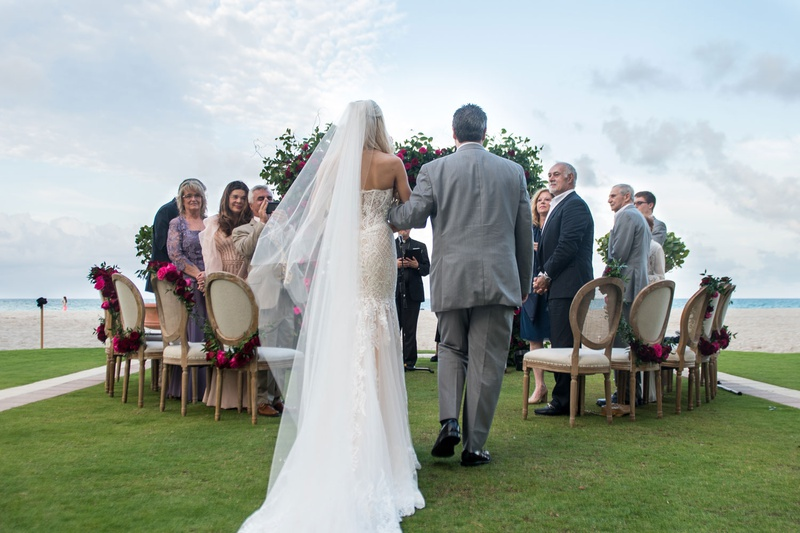 bride in strapless wedding dress long veil with father in grey suit oceanfront wedding acqualina