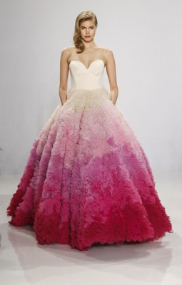 Christian Siriano for Kleinfeld Bridal strapless ball gown with ombre pink ruffle skirt white bodice