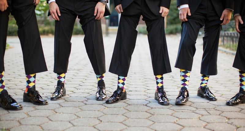 Groom and groomsmen wearing argyle sock