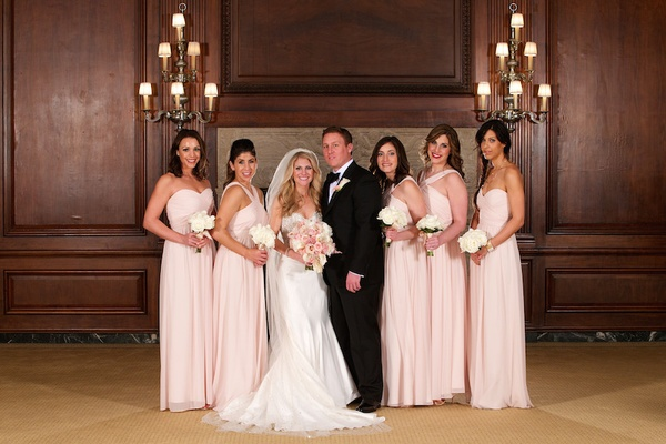 Light pink mismatched Monique Lhuillier bridesmaid dresses