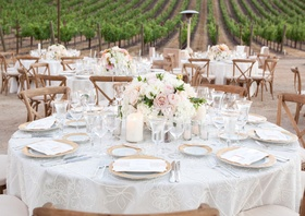Wood tables and chairs in Northern California vineyard