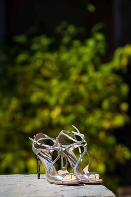 Jimmy Choo strappy open toe metallic silver stiletto heels wedding shoes ankle strap