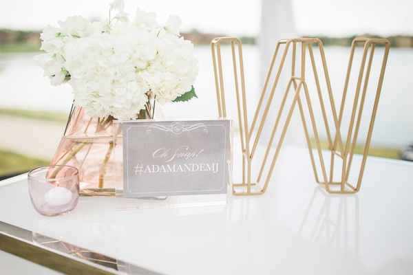 3D wire initial gold, hashtag sign, blush vase with white hydrangea, small votive candle