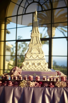 Paris theme wedding cake on purple table
