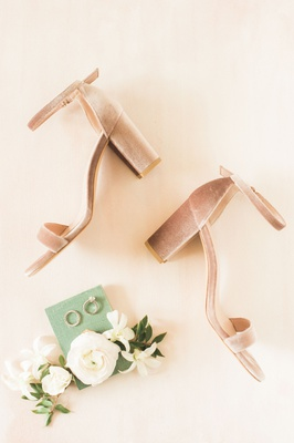 wedding accessories rings ranunculus flowers pink blush velvet thick chunky heels wedding shoe ideas