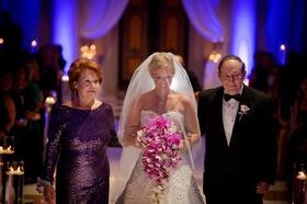 Morgan Pressel's grandmother in purple sequin long-sleeve gown