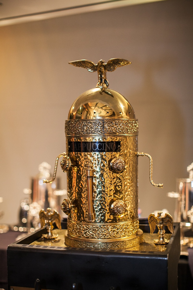 cappuccino machine, cappuccino table at wedding reception