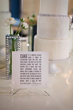 Cake description and 3-tier white cake