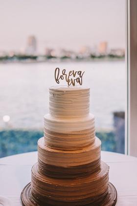 "chocolate ombre wedding cake, ""foreva eva"" cake topper"