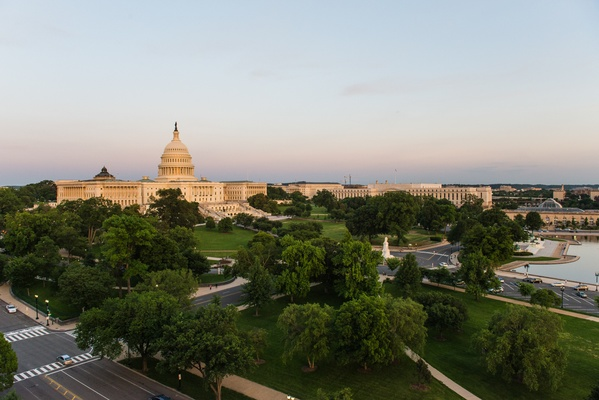 United States Capitol building and gardens from above