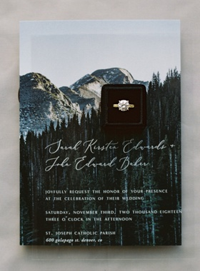 wedding invitation suite for denver ceremony mountain forest tree design engagement ring black box