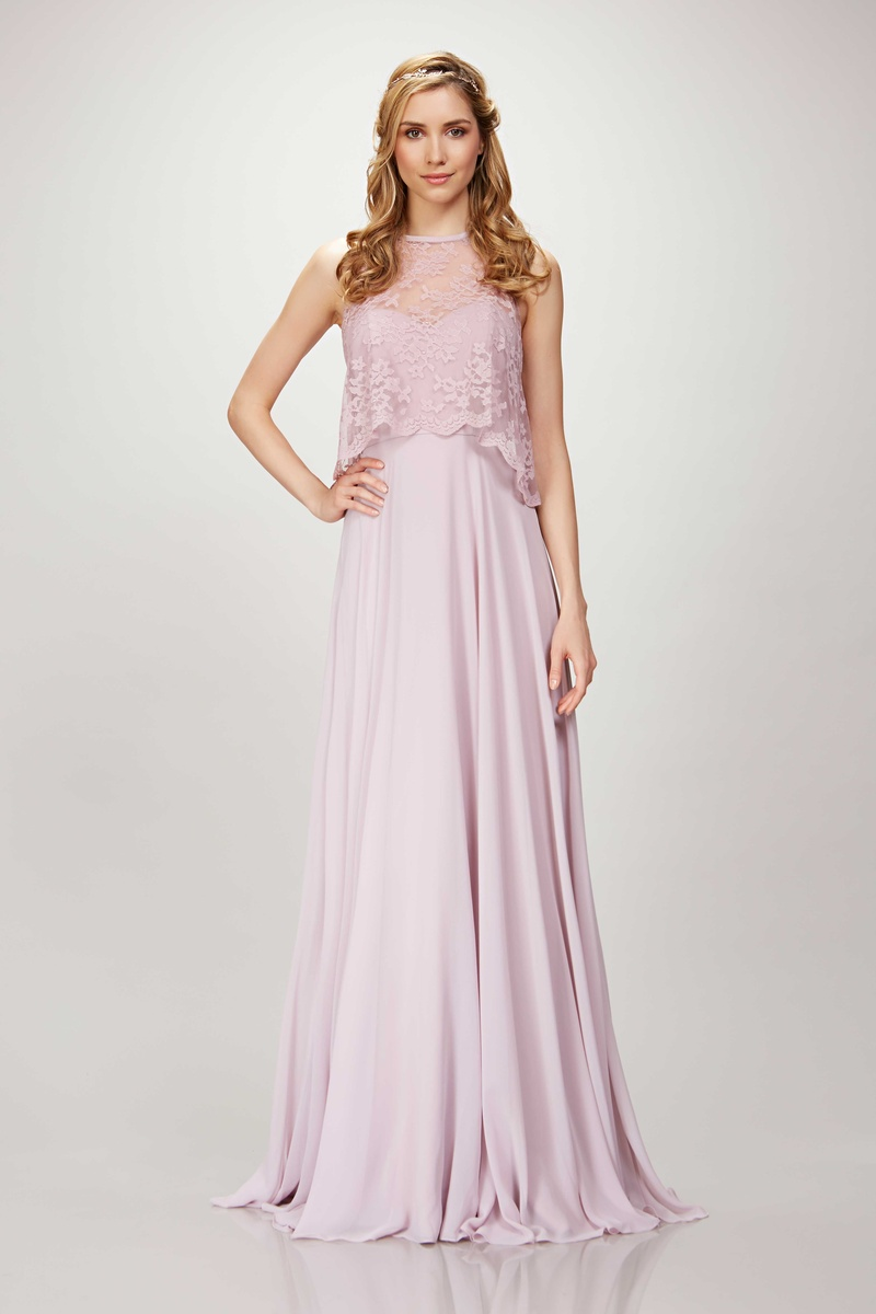 Graceful bridesmaids dresses from theia bridesmaids spring 2017 theia bridesmaids spring 2017 long bridesmaid dress in light pink with lace crop top chiffon ombrellifo Images