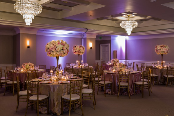 london west hollywood ballroom wedding, blush, ivory, and gold color palette