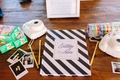 guest book, photo guest book Instax photo camera with black and white stripe book polaroids