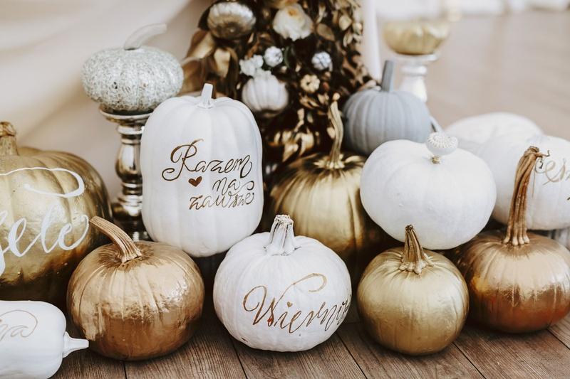 fall wedding ideas pumpkin decor white gold rose gold copper pumpkins at sweetheart table