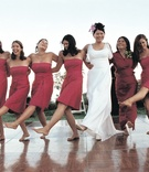Five bridesmaids and the mother of the bride dance like Rockettes