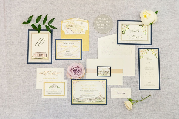 Wedding invitation suite with drawing illustrations of flowers and washington dc landmarks sites