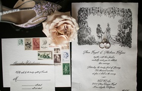 Wedding invitation suite calligraphy with sketch illustration of couple and vintage colorful stamps