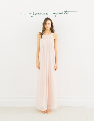 Joanna August 2016  light pink long bridesmaid dress with low back