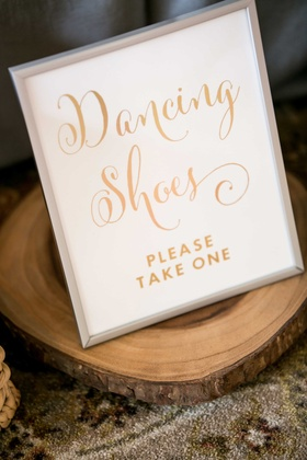 wedding signage dancing shoes gold calligraphy, wooden slab tree trunk