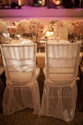 White lace wedding reception chair cover