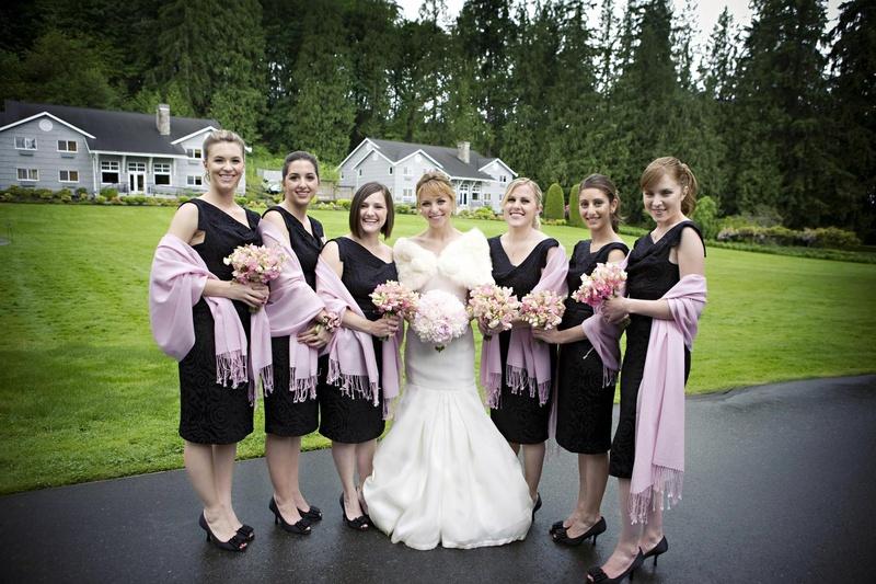 Brides & Bridesmaids Photos - Black Dresses Lavender Scarves ...