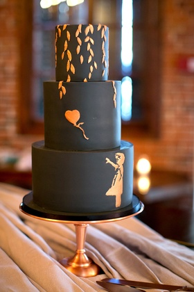Actress Brittany Daniel and adam touni wedding cake three layer black cake with rose gold copper