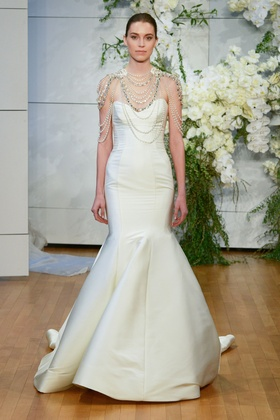 Monique Lhuillier Spring 2018 bridal collection Divine wedding dress satin sweetheart trumpet gown