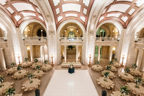wedding reception round tables tall greenery centerpieces elegant timeless classic decor