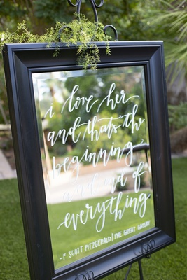 wedding mirror calligraphy with quote from the great gatsby