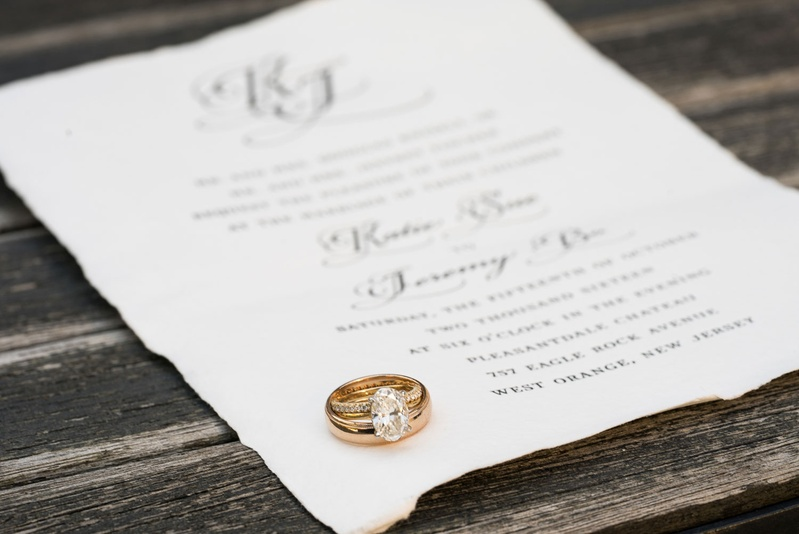 Wedding rings on wedding invitation yellow gold oval diamond solitaire with pave diamond band