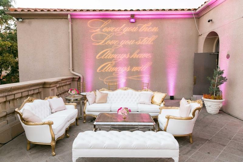 Reception Décor Photos - Patio Lounge with Gobo Sign - Inside Weddings