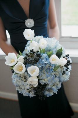 Navy blue bridesmaid dress with light blue flowers