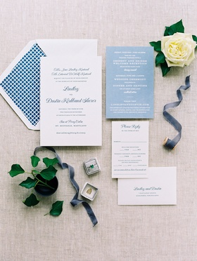 Wedding by the water blue and white wedding invitation suite envelope liner geometric